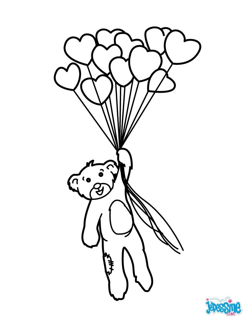 Coloriage Nounours avec ballons en coeur
