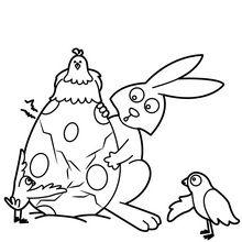 Coloriage : Lapin de Pâques et ses amis