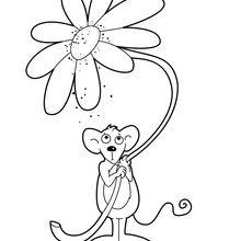 Souris avec une fleur