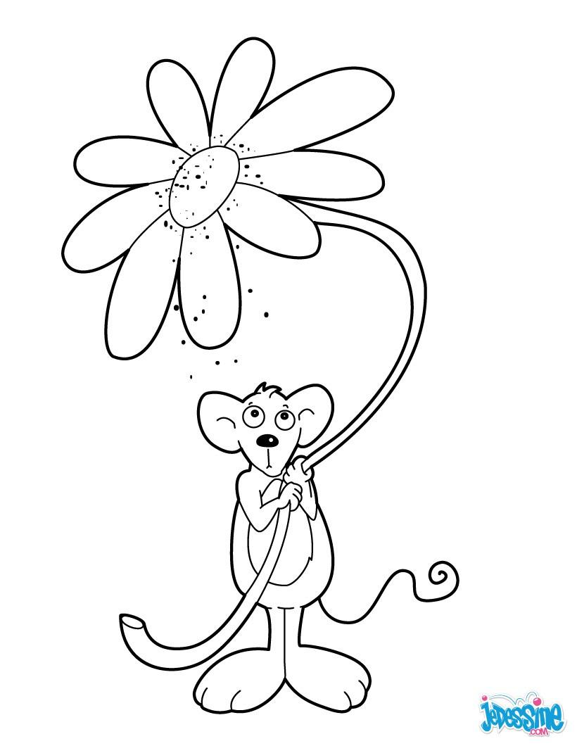 Coloriages souris avec une fleur - Une fleur dessin ...
