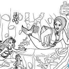 Coloriage Barbie : Scylla part pour le château