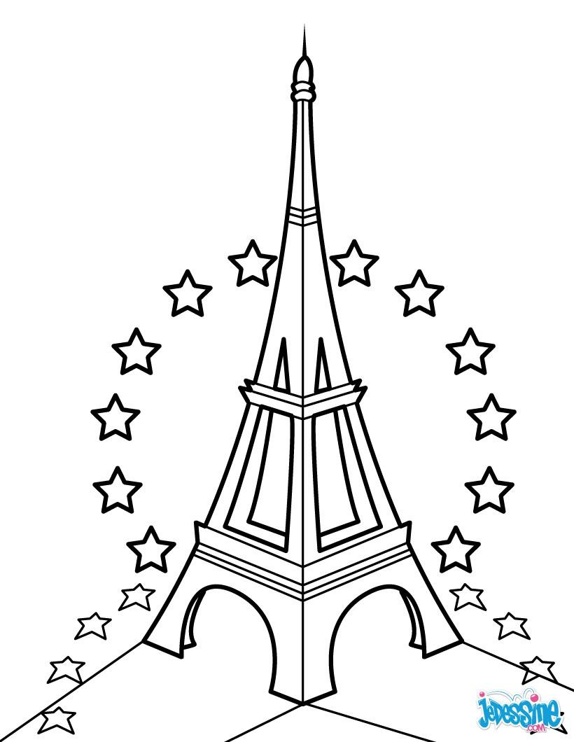 Très Coloriages tour eiffel et étoiles de l'ue - fr.hellokids.com IJ97