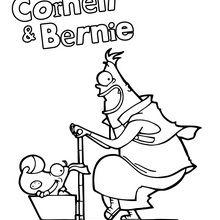Coloriage : Corneil et Bernie sur leur trottinette