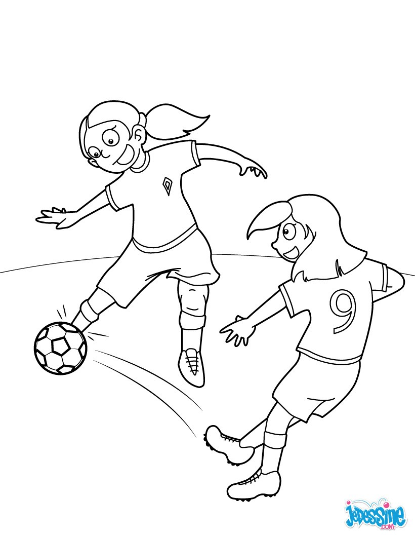 Coloriages dribble - Fille joue au foot ...