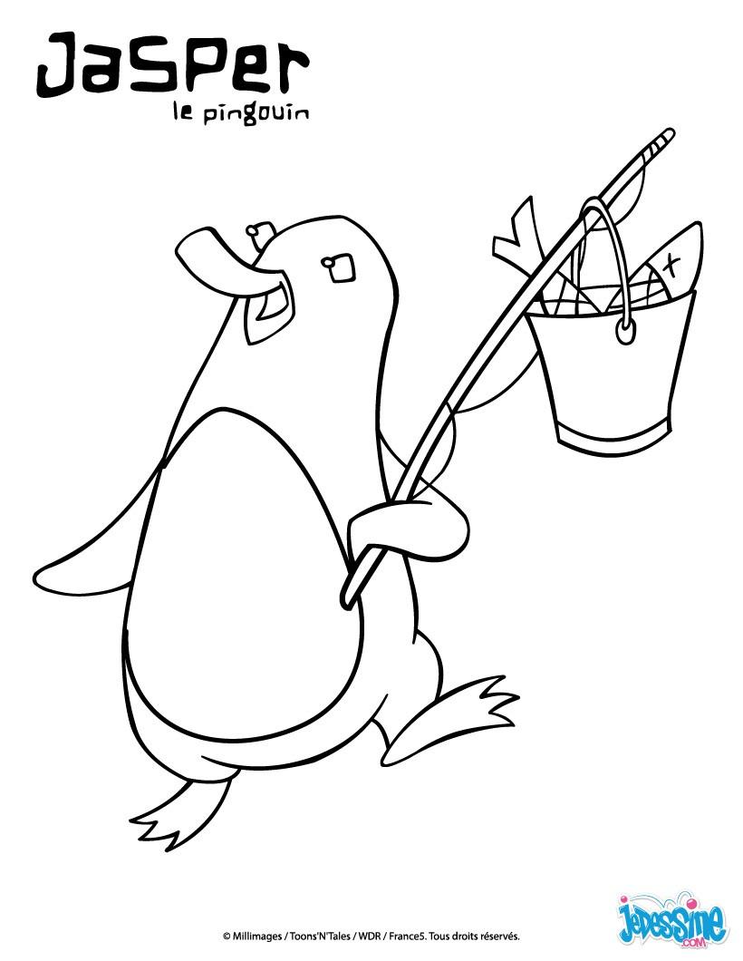 Coloriages jasper revenant de la p che - Coloriage minable le pingouin ...