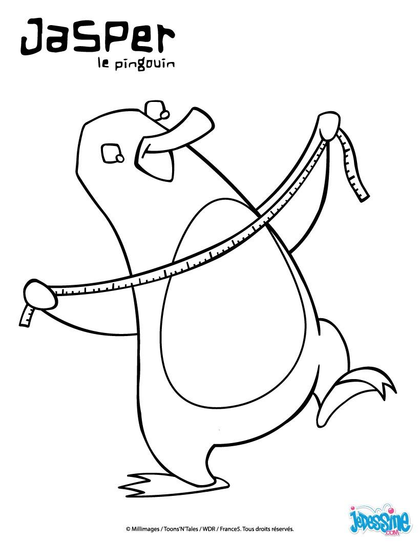 Coloriages jasper prend des mesures - Jasper le pingouin ...