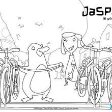 Coloriage : Emma et Jasper au parc à vélos