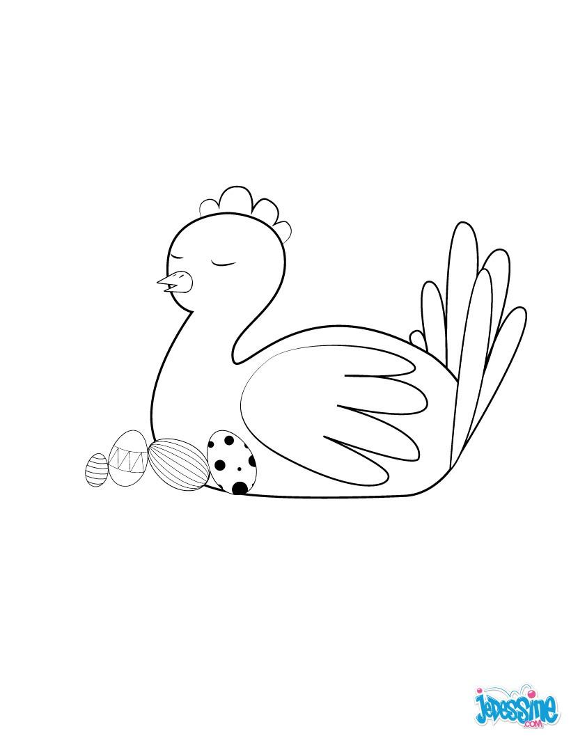 Coloriages poule de p ques endormie - Poules de paques ...
