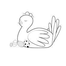Coloriage : Poule de Pâques endormie