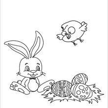 Coloriage : Lapin de Pâques et poussin