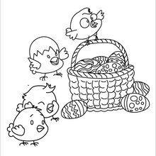 Coloriage : Oeufs et poussins de Pâques