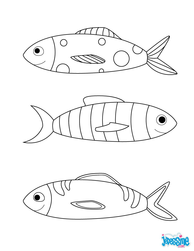 Coloriages poissons d 39 avril en groupe - Dessin de poisson d avril ...