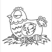 Coloriage : Poule de Pâques et ses oeufs