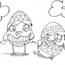 Coloriage de poussins