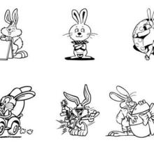 Coloriage de six petits lapins