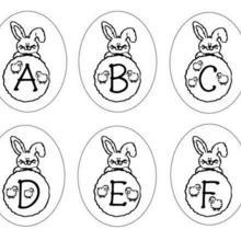 Coloriage : Lettres Lapins : A B C D E F
