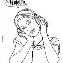 Coloriage : Violetta écoute de la musique