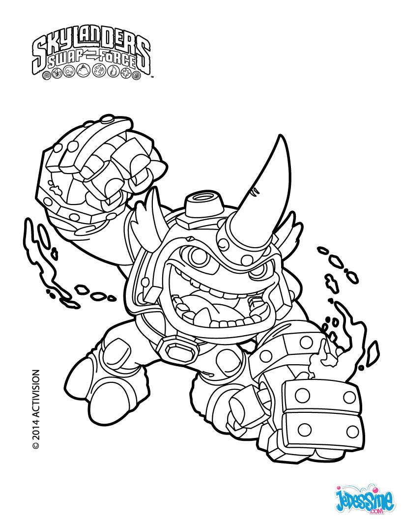Skylanders swap force wash buckler coloring pages