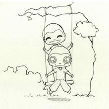 Coloriage de deux enfants sur une balancoire