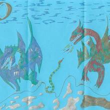Dessin d'enfant : Les dragons de Corentin