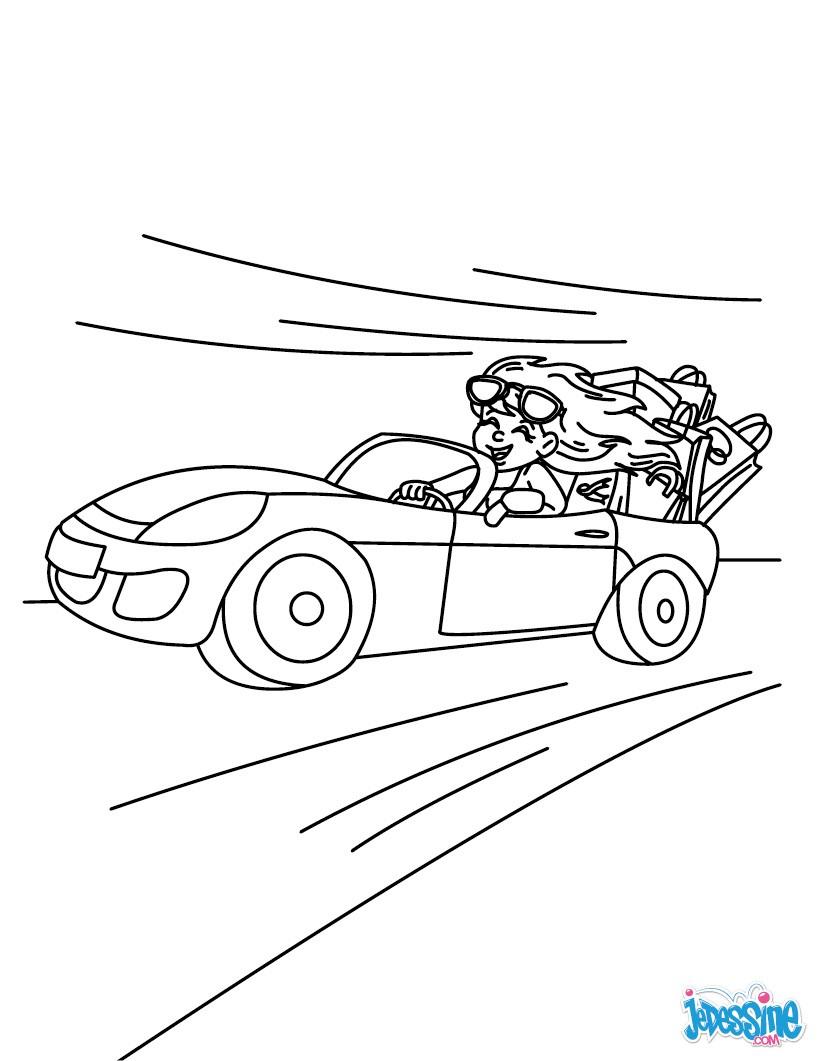Coloriage : Maman dans sa voiture