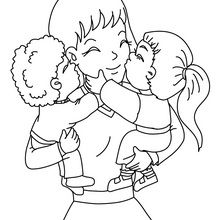 Coloriage : Câlin pour maman