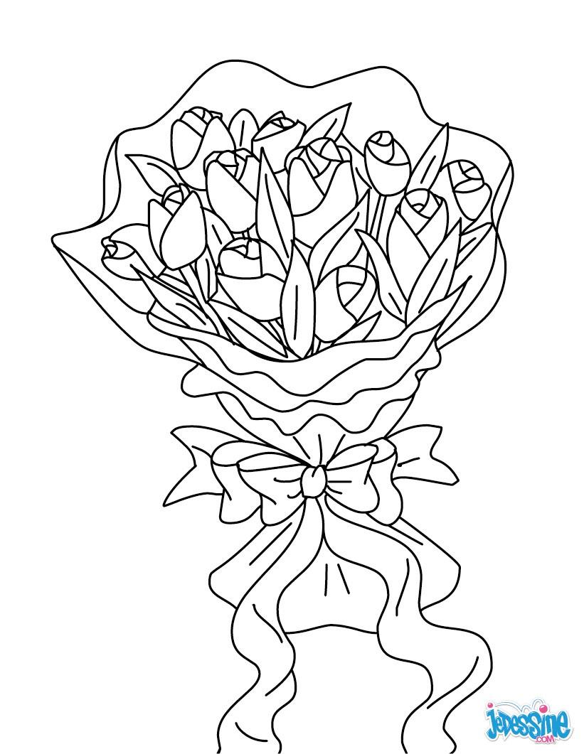 Coloriages bouquet de fleurs - Coloriage de fleur ...