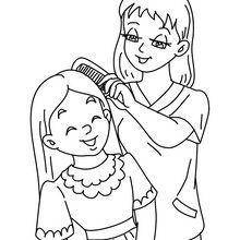 Coloriage : Maman peigne sa fille