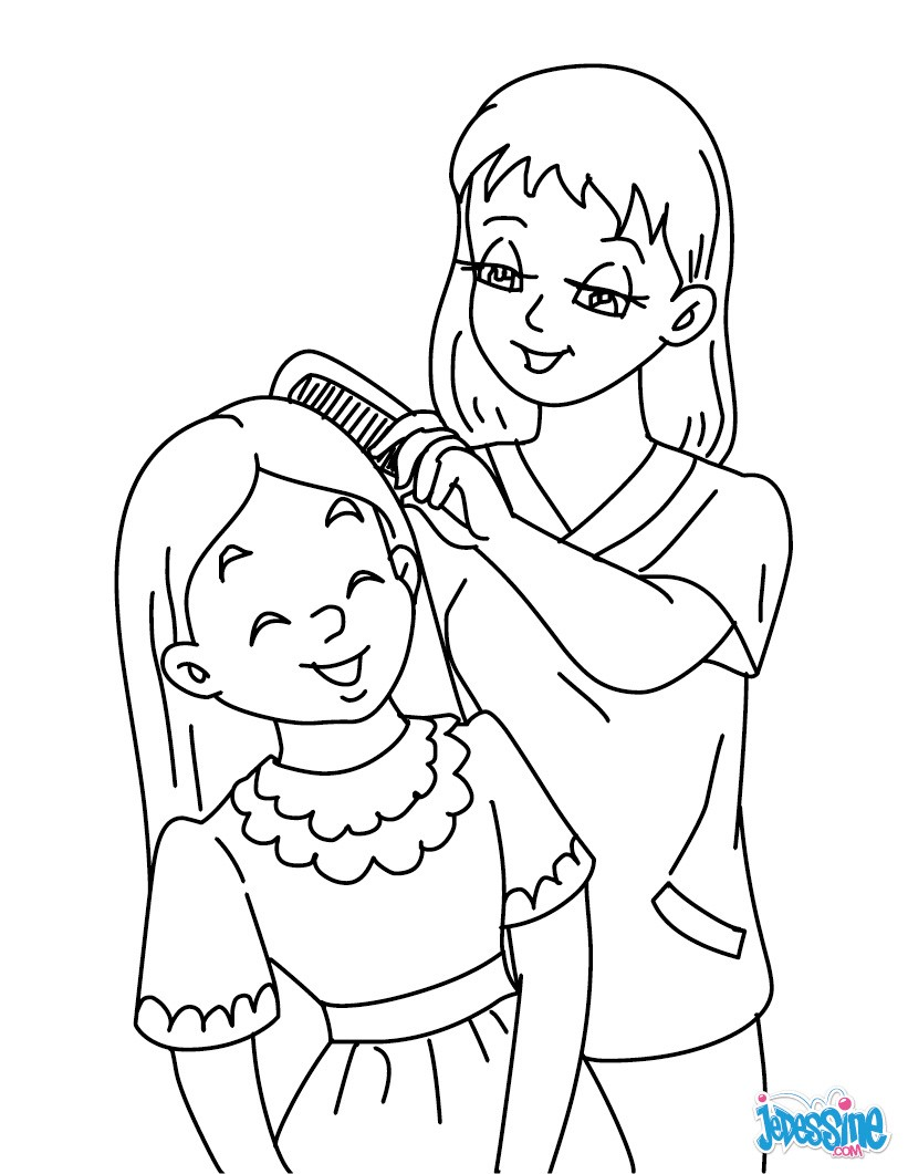 coloriages maman peigne sa fille frhellokidscom - Coloriage Fille