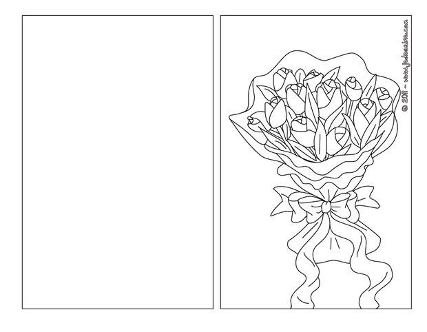 Coloriage : Carte à colorier bouquet fleurs maman