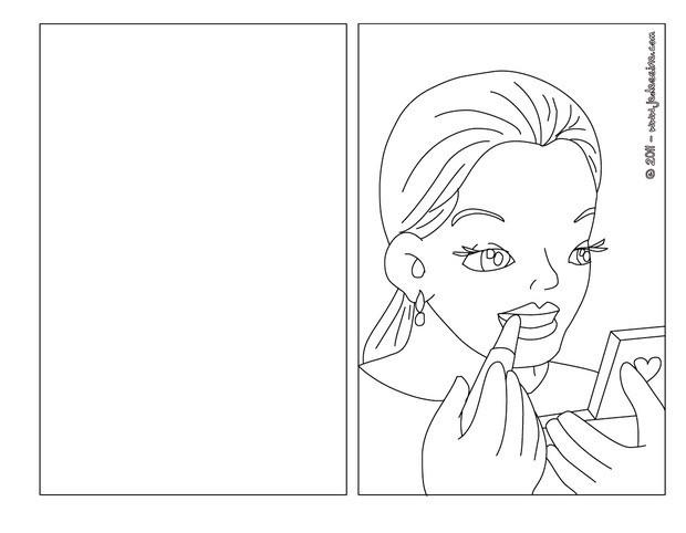 Coloriage : Carte à colorier maman se maquille