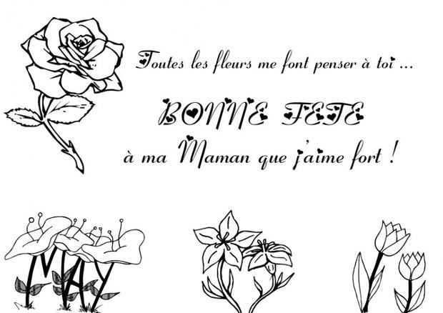 Coloriage Fête des mères: les fleurs des champs