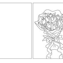 Carte à colorier bouquet fleurs maman