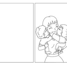 Coloriage : Carte à colorier câlin pour maman