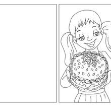 Carte à colorier gateau pour maman