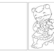Coloriage : Carte à colorier maman ours