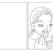 Carte à colorier maman se maquille