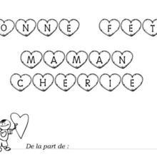 Coloriage Fête des mères : lettres à colorier et petit garçon