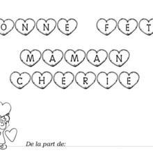 Coloriage Fête des mères: lettres à colorier et petite fille