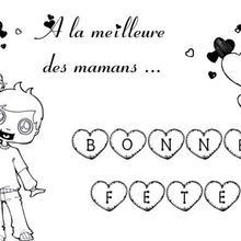 Coloriage Fête des mères: petit garçon et lettres à colorier