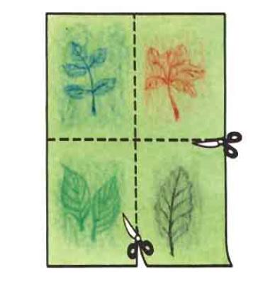 Carte à feuilles pliage, et découpage