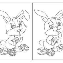 Lapin et oeufs  Pâques jeu des différences