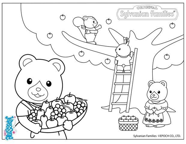 Coloriages la cueillette des pommes - Pommes dessin ...