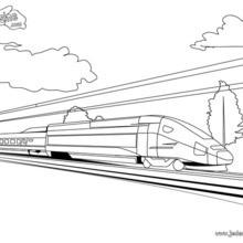 Coloriage d'un TGV en marche
