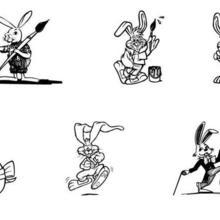Coloriage de lapins artistes et oeufs de Pâques