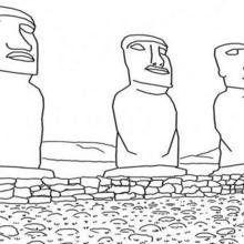 Coloriage : Les Moai de l'Ile de Pâques