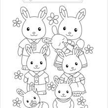 Coloriage : La famille Lapin