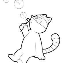 Coloriage : Raton Laveur qui fait des bulles
