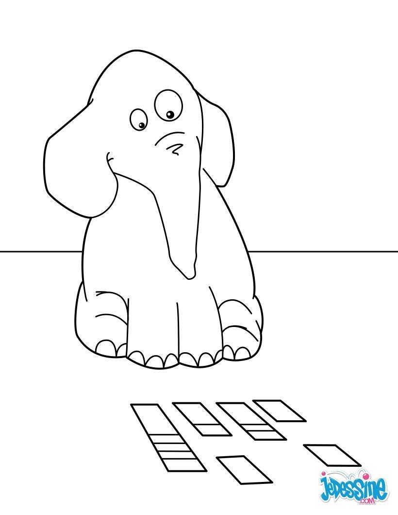 Coloriages l phant qui joue aux cartes - Dessin d un elephant ...