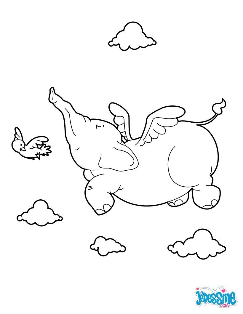 Coloriages l phant volant - Dessin d un elephant ...